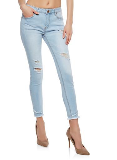 Frayed Hem Skinny Jeans,LIGHT WASH,large