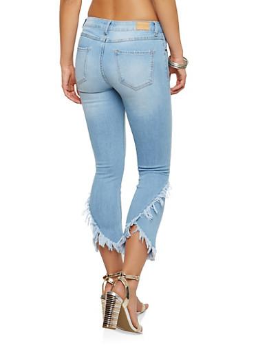 Frayed Whisker Wash Jeans,LIGHT WASH,large