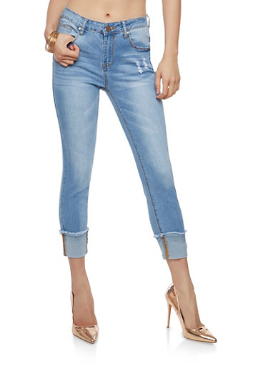 Frayed Wide Cuff Skinny Jeans,LIGHT WASH,large