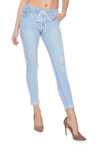Highway Elastic Waist Distressed Jeans,LIGHT WASH,large