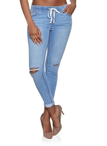 Highway Elastic Waist Distressed Jeans,MEDIUM WASH,large