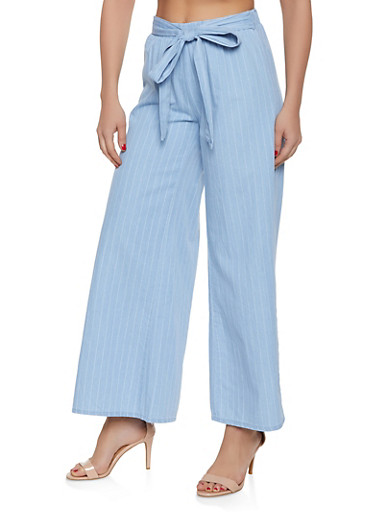 Highway Striped Chambray Palazzo Pants,LIGHT WASH,large