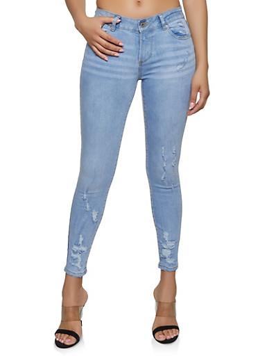 Highway Destroyed Skinny Jeans   1074071311329,MEDIUM WASH,large