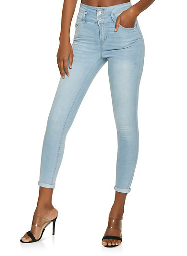 Highway 3 Button Rolled Cuff Jeans,LIGHT WASH,large