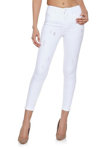 Highway Frayed Whisker Wash Jeans,WHITE,large