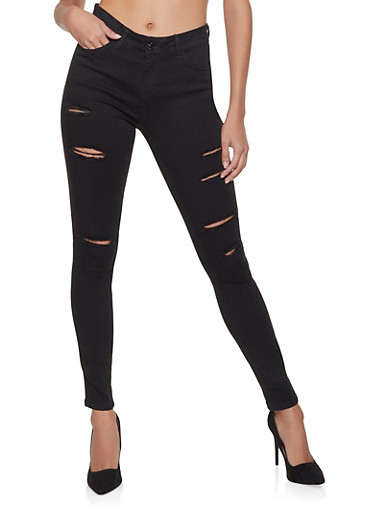 WAX Ripped Skinny Jeans,BLACK,large