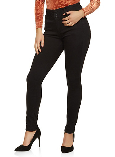 WAX 3 Button High Waisted Jeans,BLACK,large