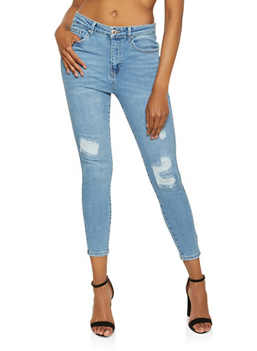 WAX Distressed Whiskered Skinny Jeans,LIGHT WASH,large