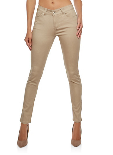 WAX Push Up Colored Skinny Jeans,KHAKI,large