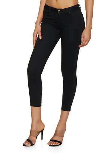 WAX Cuffed Stretch Jeans,BLACK,large