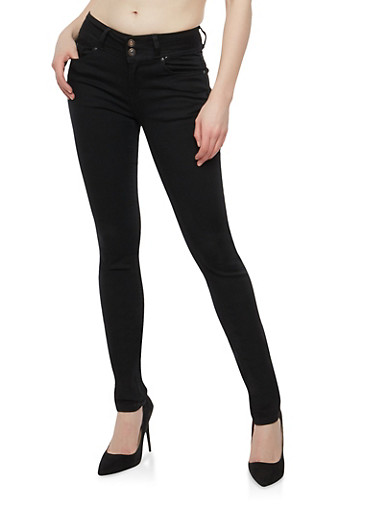 WAX 2 Button Basic Skinny Jeans,BLACK,large