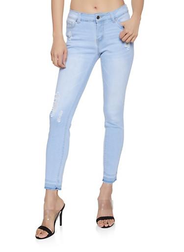 WAX Raw Hem Skinny Jeans,LIGHT WASH,large