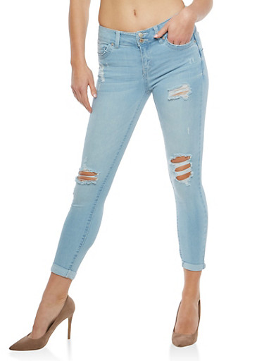 WAX Distressed Two Button Push Up Jeans,LIGHT WASH,large