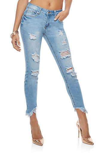WAX Destroyed Push Up Skinny Jeans,LIGHT WASH,large