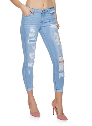 WAX Destroyed Skinny Jeans,LIGHT WASH,large
