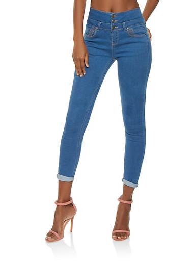 WAX Push Up Skinny Jeans,MEDIUM WASH,large