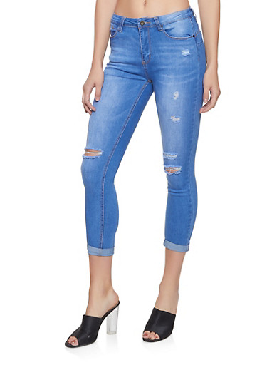 WAX Ripped Push Up Jeans,MEDIUM WASH,large