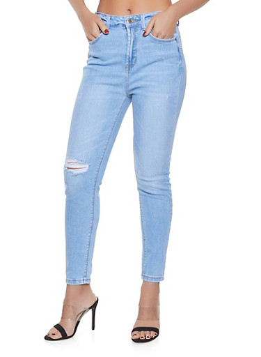 WAX Distressed High Waisted Jeans,LIGHT WASH,large