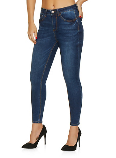 WAX Push Up Skinny Jeans,DARK WASH,large