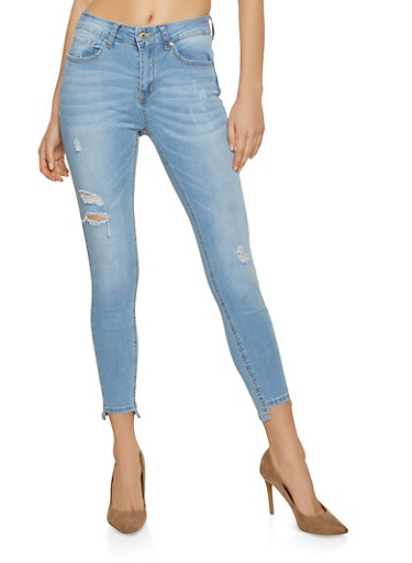 WAX Step Hem Push Up Jeans,LIGHT WASH,large