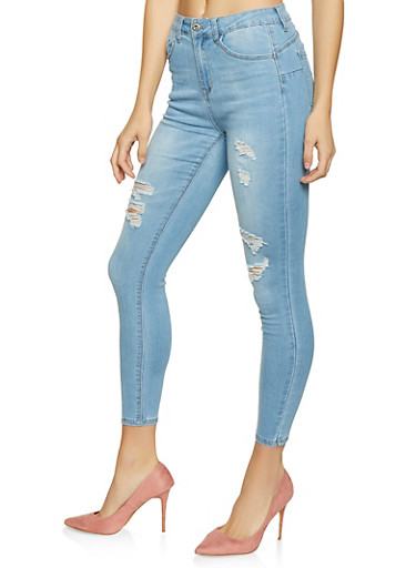 WAX Distressed Push Up Skinny Jeans,LIGHT WASH,large
