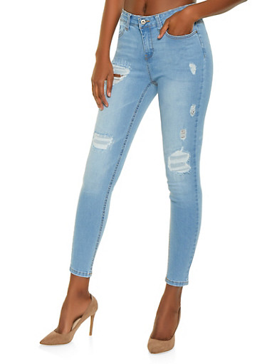 WAX Patch and Repair Skinny Jeans,LIGHT WASH,large