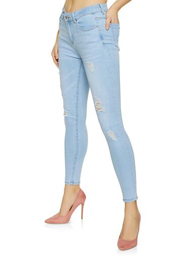 WAX Distressed Skinny Jeans,LIGHT WASH,large