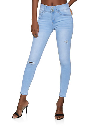 WAX Triple Button Skinny Jeans,LIGHT WASH,large