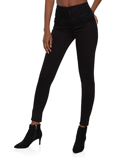 WAX Push Up High Waisted Jeans,BLACK,large