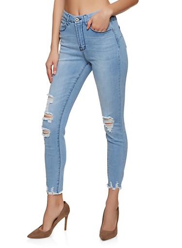 Wax High Waisted Frayed Hem Skinny Jeans,LIGHT WASH,large