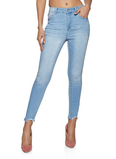 WAX Frayed High Waisted Jeans,LIGHT WASH,large