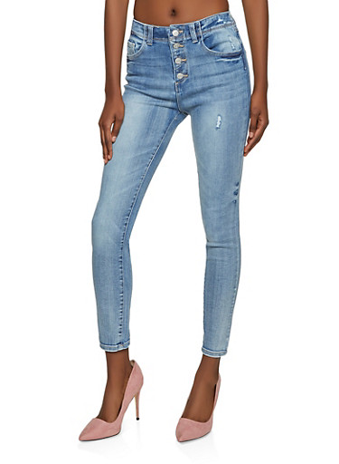 WAX 4 Button High Waisted Jeans,LIGHT WASH,large