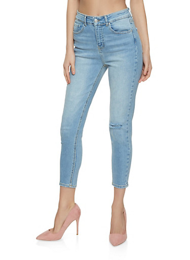 WAX Ripped Knee Jeans,LIGHT WASH,large