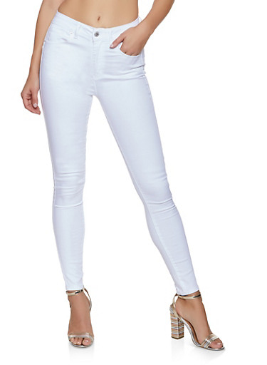 WAX Solid Push Up Skinny Jeans,WHITE,large