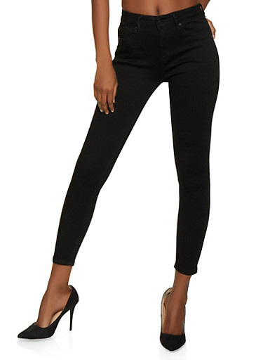 WAX One Button Skinny Jeans,BLACK,large