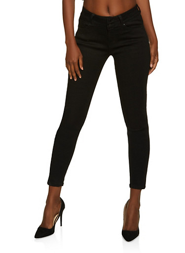 WAX 2 Button Push Up Jeans,BLACK,large