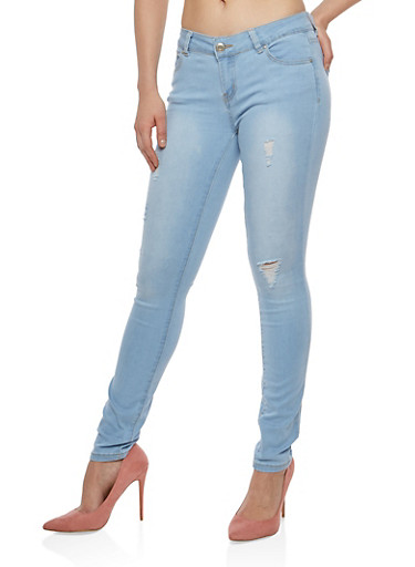 WAX Distressed Skinny Jeans,LIGHT WASH,large