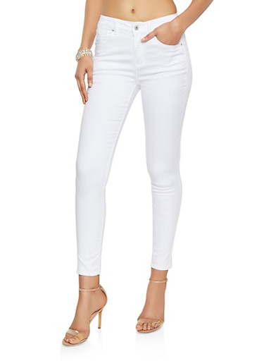 WAX Solid Skinny Jeans,WHITE,large