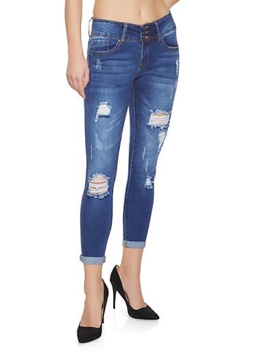 WAX 3 Button Push Up Jeans,DARK WASH,large