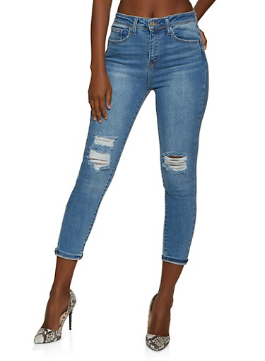 WAX High Waisted Push Up Jeans,LIGHT WASH,large