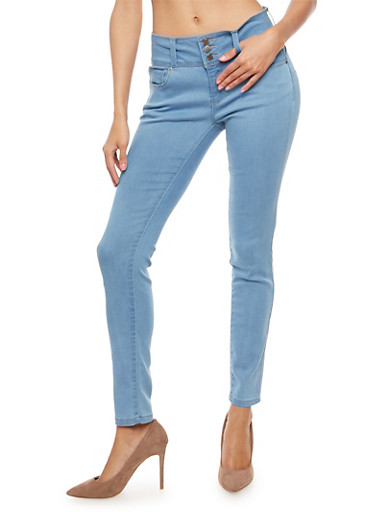 WAX Triple Button Push Up Jeans,LIGHT WASH,large