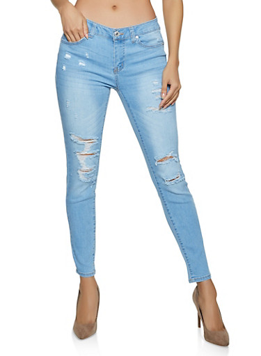 WAX Whiskered Push Up Jeans,LIGHT WASH,large