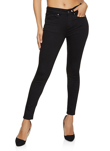 WAX High Rise Skinny Jeans,BLACK,large