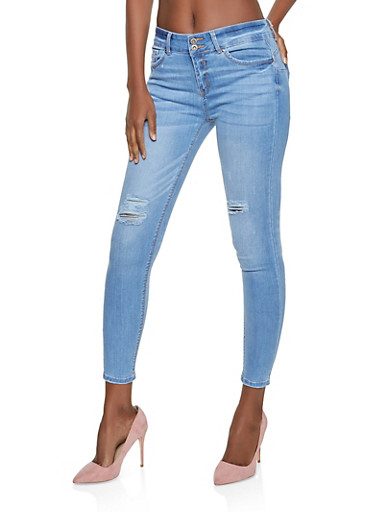 WAX 2 Button Distressed Skinny Jeans,LIGHT WASH,large