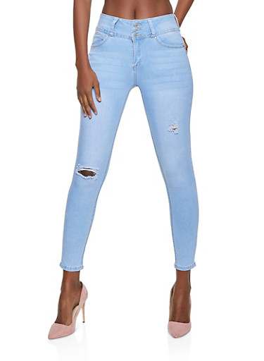 WAX Push Up Ripped Skinny Jeans,LIGHT WASH,large