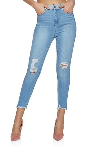 WAX Contrast Waist Jeans,LIGHT WASH,large