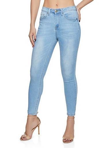 WAX High Rise Push Up Skinny Jeans,LIGHT WASH,large