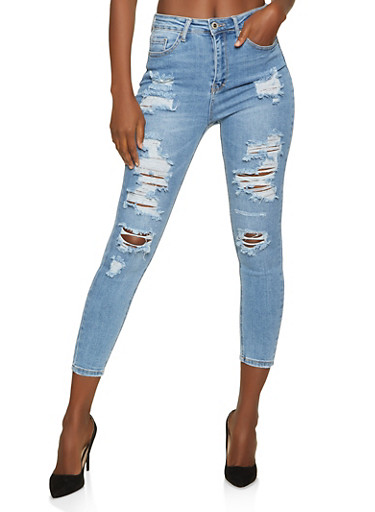 WAX Ripped Whiskered Jeans,LIGHT WASH,large