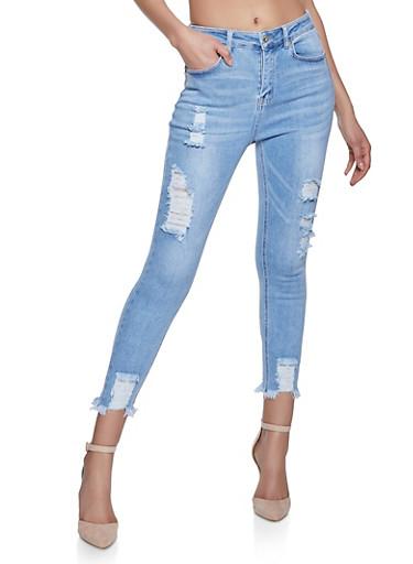 WAX Distressed Raw Hem Skinny Jeans,LIGHT WASH,large