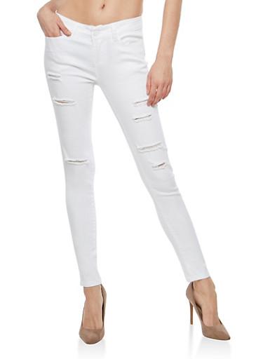 WAX Slashed Skinny Jeans - WHITE - 1074071619002